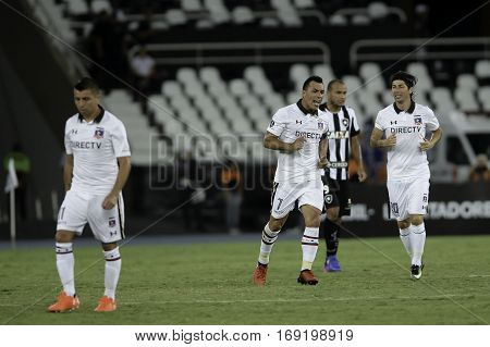 Rio Brazil - february 01 2017: Esteban Paredes during Botafogo (BRA) vs Colo Colo (CHI) in the Copa Libertadores of America match at the Nilton Santos Stadium (Engenhao)