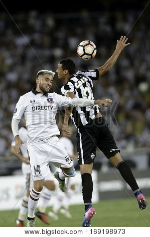 Rio Brazil - february 01 2017: Pedro Morales during Botafogo (BRA) vs Colo Colo (CHI) in the Copa Libertadores of America match at the Nilton Santos Stadium (Engenhao)