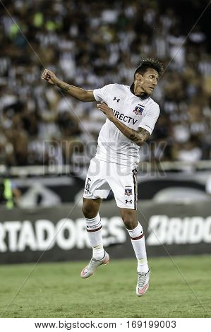 Rio Brazil - february 01 2017: Christofer Gonzalez during Botafogo (BRA) vs Colo Colo (CHI) in the Copa Libertadores of America match at the Nilton Santos Stadium (Engenhao)