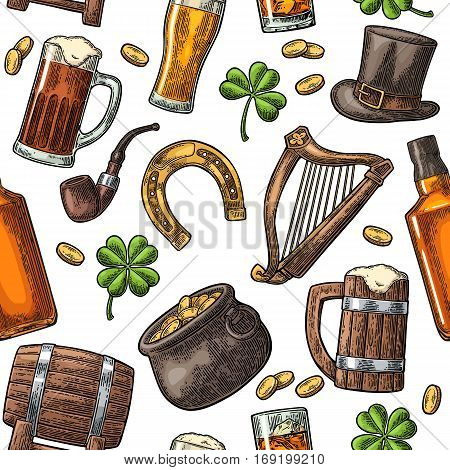 Seamless pattern Saint Patrick s Day. Top gentleman hat pot of gold coins pipe beer glass lyre horseshoe clover barrel. Vector vintage color engraved illustration isolated white background.