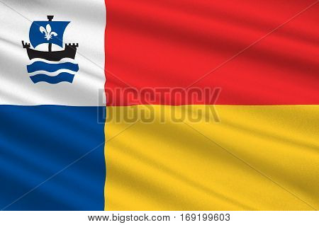 Flag of Almere is a planned city and municipality in the province of Flevoland Netherlands bordering Lelystad and Zeewolde. 3d illustration