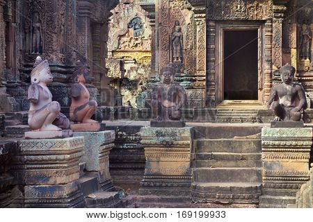 Cambodia a part of historical the building or the temple with statue and figure