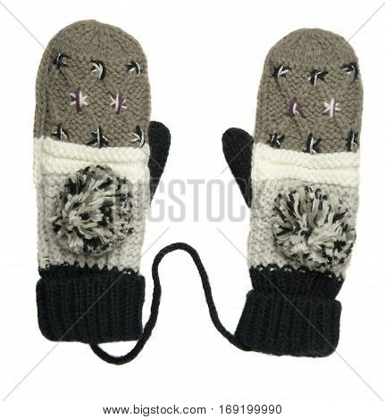 Mittens Isolated On White Background. Knitted Mittens. Mittens Top View.mittens In Gray And White St