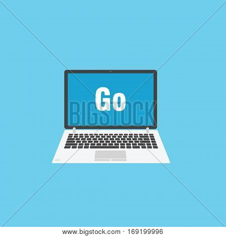 Programming on Go language laptop with programming language on blue background
