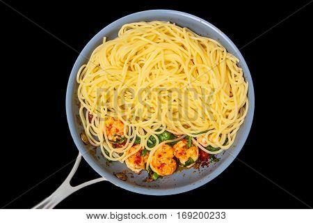 Spaghetti, Prawns, Fried In A Skillet. Insulated
