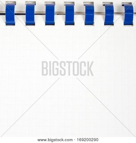 white workbook background open ring binder, copy space