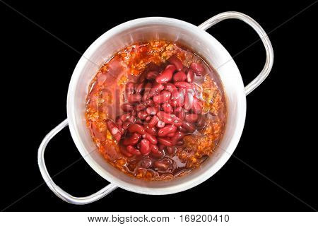 Cooking Chile Con Carne In A Small Saucepan. Insulated