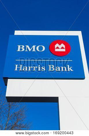 Bmo Harris Bank Exterior Sign And Logo.