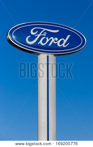 Ford Automobile Dealership And Sign