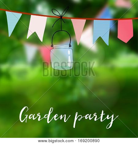 Birthday garden party or Brazilian june party card. Decoration with flags and jar, vector illustration with modern blurred background.