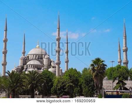 Minarets of famous Blue Mosque in Istanbul.