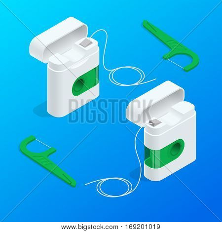 Vector isometric quality dental floss set and Toothpick with different color