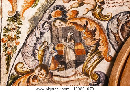 ATOTONILCO, MEXICO - DECEMBER 29, 2014 Baby Jesus Fresco Sanctuary of Jesus Atotonilco Mexico. Built in the 1700s known as the Sistene Chapel of Mexico with Frescoes of Jesus Stories. Frescoes by Miguel Antonio Matinez between 1740 and 1775.