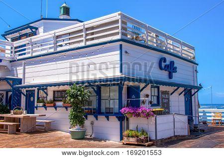Malibu, California, USA - June 18, 2014: The famous cafe on the Malibu Pier