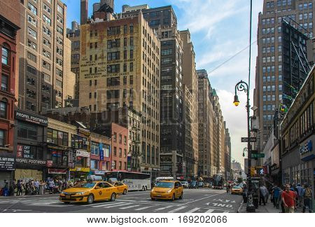 New York, USA - June 12, 2014: The main street of the city of New York Broadway
