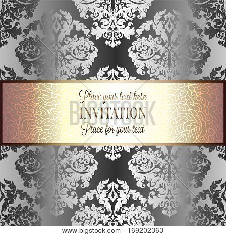 Baroque background with antique, luxury silver and gold vintage frame, victorian banner, damask floral wallpaper ornaments, invitation card, baroque style booklet, fashion pattern.