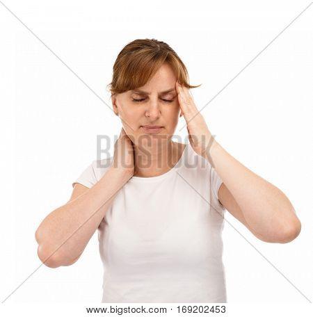 Woman massaging pain head
