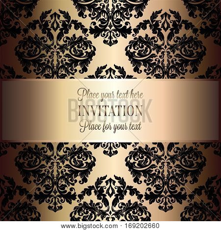 Baroque background with antique, luxury black and gold vintage frame, victorian banner, damask floral wallpaper ornaments, invitation card, baroque style booklet, fashion pattern, template for design.