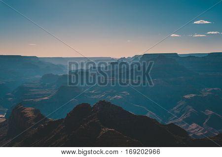 Silhouette National Park Grand Canyon at sunset, Arizona USA