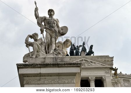 Rome Italy - September 12 2016 : Altar of the Fatherland-National Monument to Victor Emmanuel II-Piazza Venezia-Rome