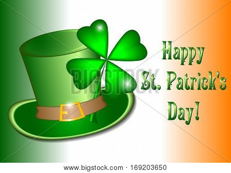 Holiday card with green hat and clover on it for St. Patrick's Day in March 17 on background with Irish tricolor. Vector illustration