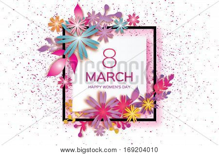 8 March. Happy Mother's Day. Colorful Paper cut Floral Greeting card. Origami flower and leaves holiday background. Square Frame, space for text. Happy Women's Day. Vector illustration