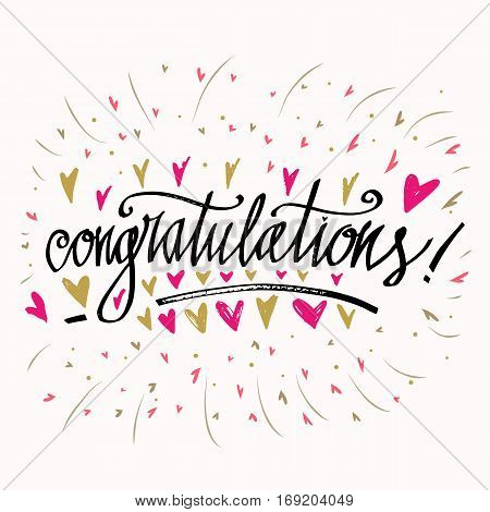 Congratulations calligraphy card. Hand written text. Congratulations inscription. Hand drawn lettering design. Typography for banner poster or apparel design. Isolated vector element