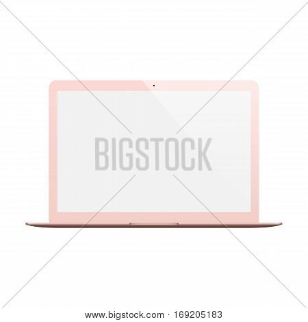 laptop rose gold color with blank screen isolated on white background. stock vector illustration eps10