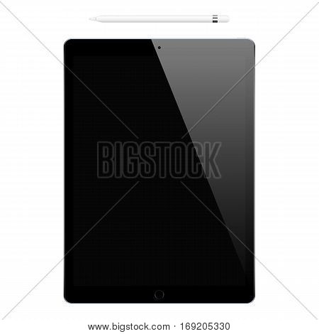 tablet black color and pencil or stylus isolated on white background. stock vector illustration eps10