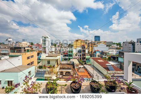 HO CHI MINH, VIETNAM - APRIL 28, 2014: Day view of one of the oldest neighborhoods in Ho Chi Minh City. Its formerly named Saigon, which was officially renamed Ho Chi Minh City July 2, 1976
