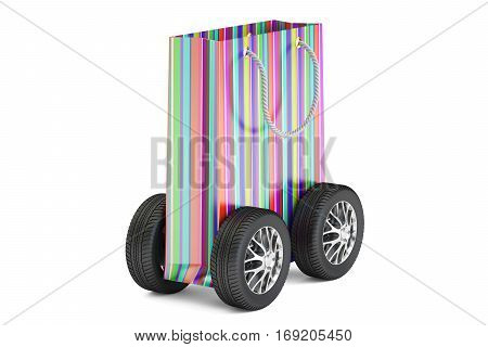 colored shopping bag with wheels delivery concept. 3D rendering isolated on white background