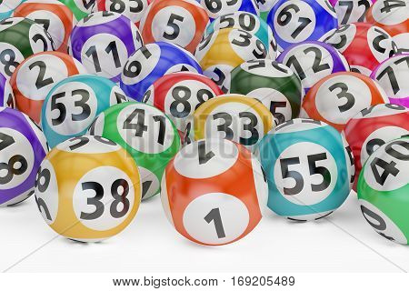 lottery balls 3D rendering isolated on black background