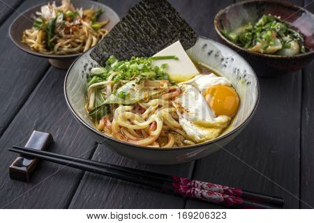Vegetarian Ramen Soup with Egg in Bowl