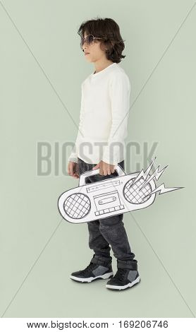 Caucasian Little Boy Holding Fake Jukebox