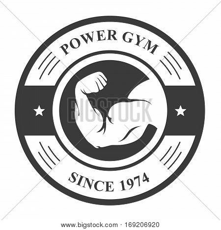 Gym badge - bodybuilder's hand sport emblem with biceps