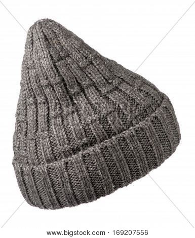 Women's Hat . Knitted Hat Isolated On White Background.gray Hat