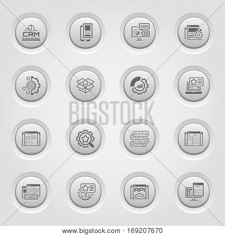 Set of Business and Marketing Icons as CRM, Set Up Analytics, Mobile Landing Page, Set Up Goals. Business Packing, Promotion, Set Up Ads, Checklist, Targeted Locations, Optimization, Copywriting