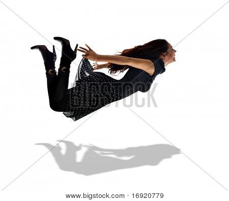 long-haired girl is flying