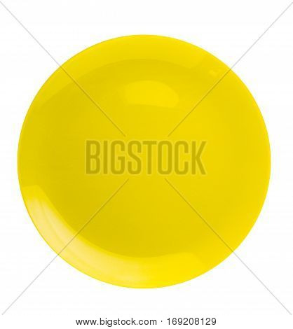 Plate Isolated On A White Background. Plate Top View .yellow Plate