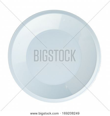 Plate Isolated On A White Background. Plate Top View .light Blue Plate