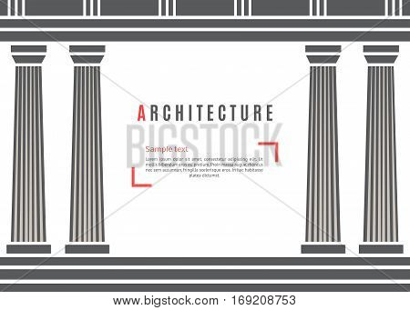 Architecture greek temple on white background. Vector illustration flat architecture design.