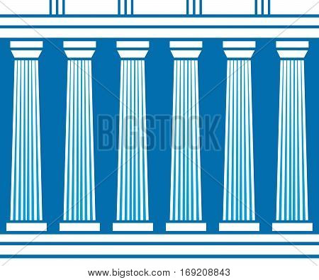 Double classic pillars arc isolated on blue background. Vector illustration flat architecture design.