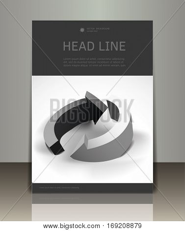 Set of the vector business brochure or magazine cover template