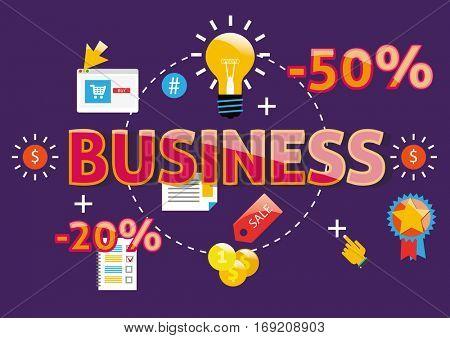 Business word modern design vector concept flat illustration.