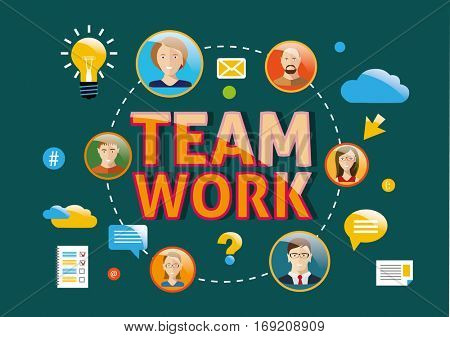Teamwork modern design vector concept flat illustration.