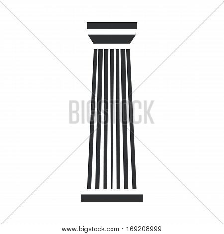 Black column pillar icon isolated on white background. Vector illustration for flat architecture design.
