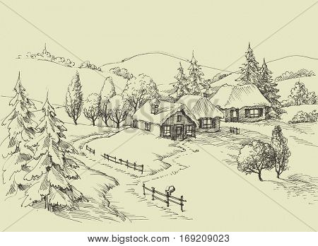 Small village idyllic landscape. Beautiful valley sketched panorama
