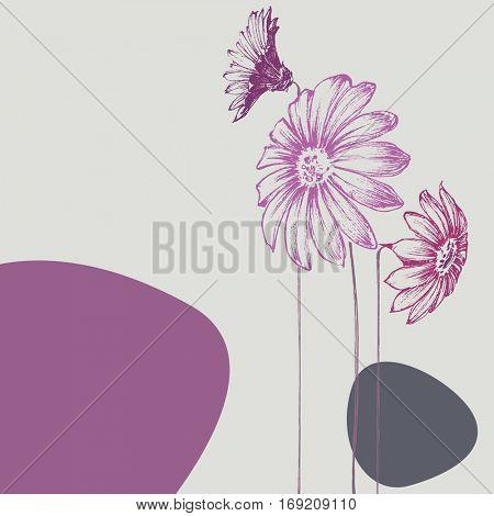 Beautiful flowers design. Birthday card, wedding announcement card