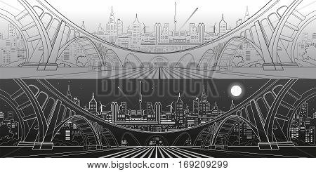 Big bridge, amazing panorama city, day and night town. Architecture and infrastructure illustration. Lines landscape, vector design art