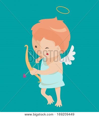Cute angel isolated on white background. Vector illustration for cartoon holiday design. Child. Happy valentine day cupid with heart, arrow, bow, halo